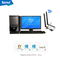 Fenvi Desktop PC Dual Band Wireless WIFI PCI Express PCI-E Adapter Card 2.4Ghz-300Mbps/5Ghz-867Mbps + Bluetooth 4.0 Also PCI-E Low Profile Wireless Card