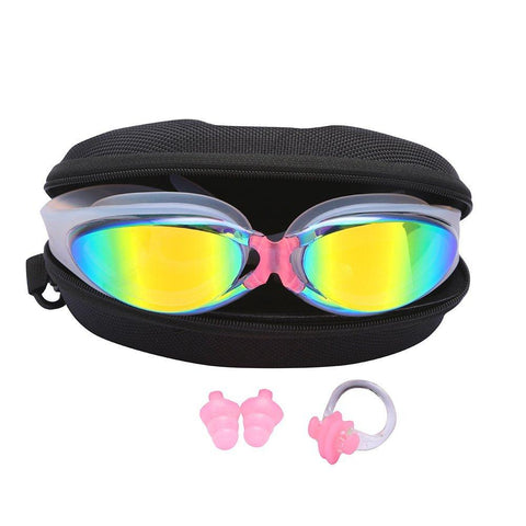 Adult Swimming goggles Antifog Coated - Color Mirrored Lens Adjustable Straps with Silicone Eye Cups for Men Women Unisex