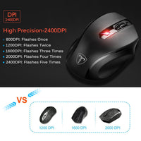 VicTsing MM057 2.4G Wireless Portable Mobile Mouse Optical Mice with USB Receiver, 5 Adjustable DPI Levels, 6 Buttons for Notebook, PC, Laptop, Computer, Macbook - Black