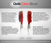 Self Cleaning Hair Brush - Easy Clean Retractable Bristles - Patented Detangler by Qwik Clean