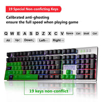 Mechanical Feeling Gaming Keyboard, USB Backlit LED Wired Keyboard with Backlight Rainbow RGB Multicolor Water-Resistant AdjustableIlluminated Computer Keyboard for PC Games Office (K2 Black)