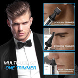 3 in 1 Nose Hair Trimmer - Waterproof Stainless Steel Nose Trimmer Beard and Eyebrow Clipper with LED Light Battery-powered by HLYOON