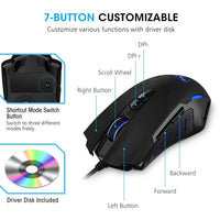 Pictek Gaming Mouse Wired [7200 DPI] [Programmable] [ Breathing Light] Ergonomic Game Computer Mice with 7 Buttons for PC,Gamer