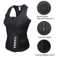 YIANNA Sweat Neoprene Sauna Suit Tank Top Vest With Adjustable Shaper Waist Trainer Belt