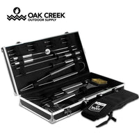 Oak Creek 19 Piece Stainless Steel Grilling Utensils and Apron Kit | Grill Tool Set Comes With Spatula, Tongs, Forks, Grill Brush and More For All Your Barbecuing Needs