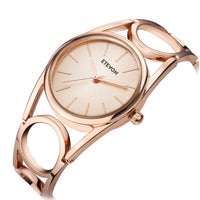 ❤VALENTINES GIFTS❤ ETEVON Women's Quartz Rose Gold Wrist Watch with Simple Dial Style and Round Hollow Bracelet Water Resistant, Fashion Luxury Dress Watches for Women