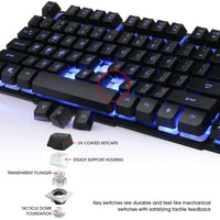 DBPOWER Three Colors Backlit LED Keyboard for Gaming, Office