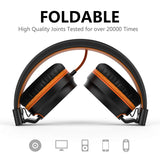 Ailihen I35 Stereo Lightweight Foldable Headphones Adjustable Headband Headsets with Microphone 3.5mm for Cellphones Smartphones Iphone Laptop Computer Mp3/4 Earphones (Black/Orange)
