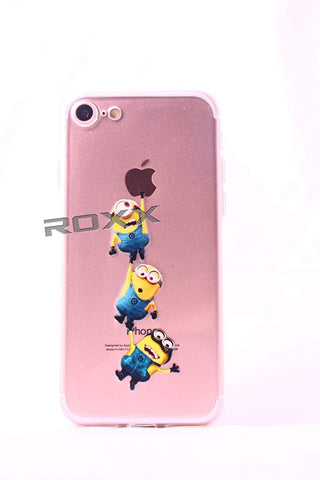 7- 3 Minions Hanging from Apple iPhone 7 ROXX iPhone 7 7G Fairy Tale Soft Rubber TPU Silicone Cases