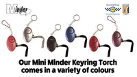 Minder Mini Key Ring Personal Attack Rape Alarm 140db with Flashlight + Spare Battery Set - Secured by Design Approved (UK Police Preferred Specification)