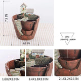 Tiny Creative Plants Pot LETOOR Flower Plants Succulent DIY Container Decorated with Mini Hanging Fairy Garden and Sweet House for Holiday Decoration and Gift