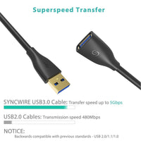 USB 3.0 Extension Cable 6.5ft - [Super Speed, Gold Plated] Syncwire USB 3.0 A Male to Female Extender Cord 5Gbps Data Transfer and Charging - Black