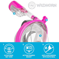 WildHorn Outfitters Seaview 180° GoPro Compatible Snorkel Mask- Panoramic Full Face Design. See More With Larger Viewing Area Than Traditional Masks. Prevents Gag Reflex with Tubeless Design