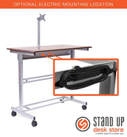 "48"" Stand Up Desk w/ FREE Monitor Mount (Dark Walnut Shelves / Silver Frame)"