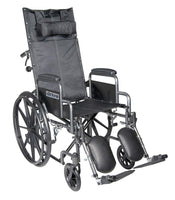 Drive Medical Silver Sport Reclining Wheelchair with Detachable Desk Length Arms and Elevating Legrest, Silver Vein, 18""