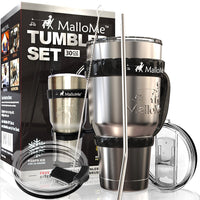 MalloMe Stainless Steel Vacuum Insulated 30 oz Water & Coffee Cup Tumbler Travel Mug, 6 Piece Set