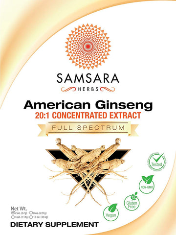 American Ginseng Extract Powder (2oz/57g) 20:1 Concentrated Extract - Energy, Stamina, Anti-Aging