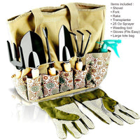 Scuddles Heavy Duty Gardening Tool Set - Garden Storage Tote Bag Organizer with Wooden Handle & Ergonomic Hand Digging Stainless Weeder Rake Shovel Trowel Spray Glove Kit Gift for Man & Women SC-GB-01