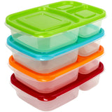 3 Compartment Containers - Reusable Bento Lunch box & Divided Food Storage (4 Pack) With Multi Colored Lids - Sunsella Buddy Box (Not Leakproof)