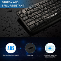 VicTsing Water-Resistant Wired Keyboard, Computer USB Keyboard with 5 Feet USB Cable and Foldable Stands, Support Windows 10/ 8 / 7 / Vista / XP, Mac, Linux, Black