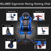 KILLABEE Racing Style Gaming Chair - Big and Tall 400lb E-Sports High Back Ergonomic Executive Computer Desk Leather Office Chair with Adjustable Padded Headrest and Lumbar Support (Blue&Black)