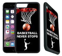 [TeleSkins] - iPhone 7 Plus / iPhone 8 Plus Rubber Case - Basketball Never Stops - Ultra Durable Slim Fit, Protective Plastic with Soft RUBBER TPU Snap On Back Case / Cover. Fits (5.5 inch only)