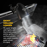 2017 Barbecue Grill Light by Grilling Legends - Touch Sensitive On/Off - 10 Ultra Bright LED Lights 100 Lumens - Heat and Weather Resistant - Bonus Outdoor Cover