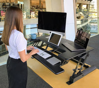 "Premium Standing Desk, Stand Up, Anti-Fatigue Mat Included, 36"" Surface, Spacious Keyboard Tray, Smartphone/Tablet Holder, Easy Adjust Workstation,Smooth Motion, Quick Assembly, Sturdy Design"