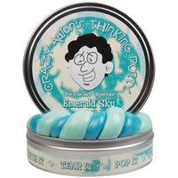 "Crazy Aaron's Thinking Putty - ""Emerald Sky"" 3.2 oz, 4"" Tin - First Ever Glow in the Dark Heat-Sensitive Hypercolor - Online Exclusive Color"