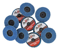 "ABN 2"" T27 40 Grit High Density Zirconia Alumina Flat Flap Disc Roloc Roll Lock Grinding Sanding Sandpaper Wheels 10 PK"