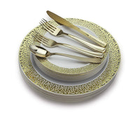 """ OCCASIONS "" 360 PCS / 60 GUEST Wedding Disposable Plastic Plate and Silverware Combo Set , ( White / Gold Rim plates, silver silverware)"