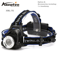 Head light Head lamp Cree XM-L T6 led 3800LM rechargeable Headlamps Headlights lamp lights +18650 battery Charger