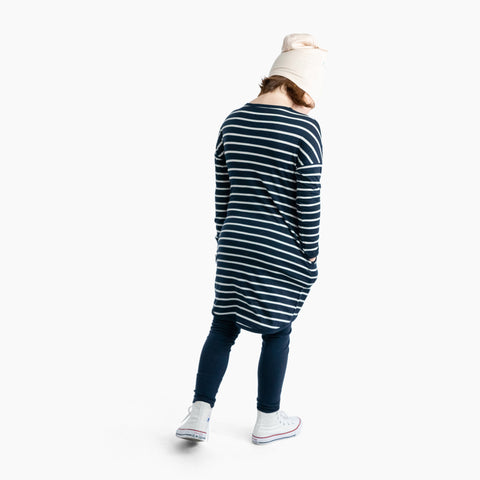 slouch dress - ink breton - mello merino