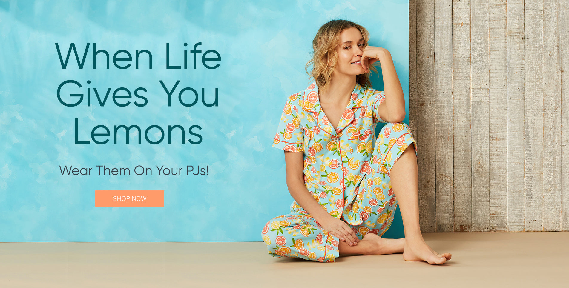 Bedhead pajamas homepage When Life give you lemons wear them on your pjs print.
