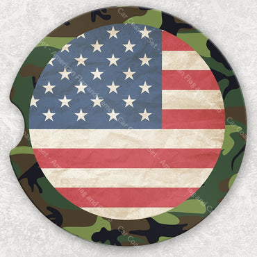 Car Coaster Set - American Flag And Camo