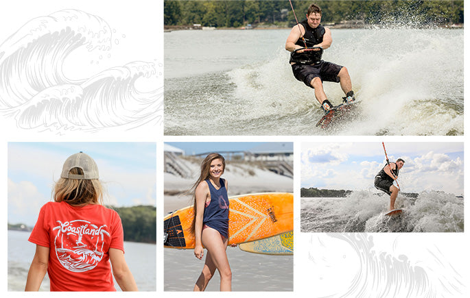 collage of coastland apparel and water sports
