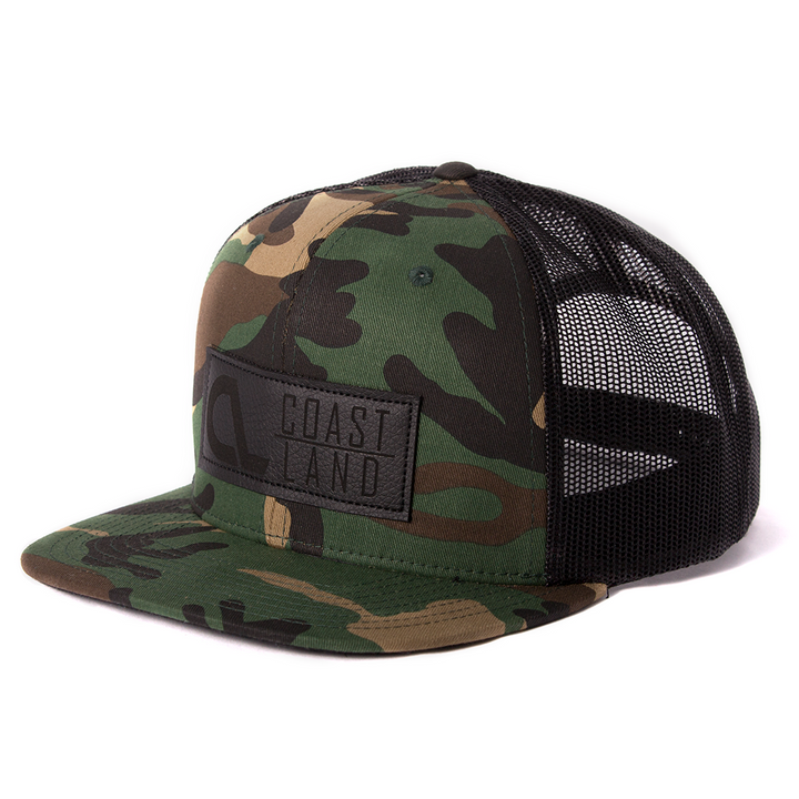 Camo Black Leather Snapback