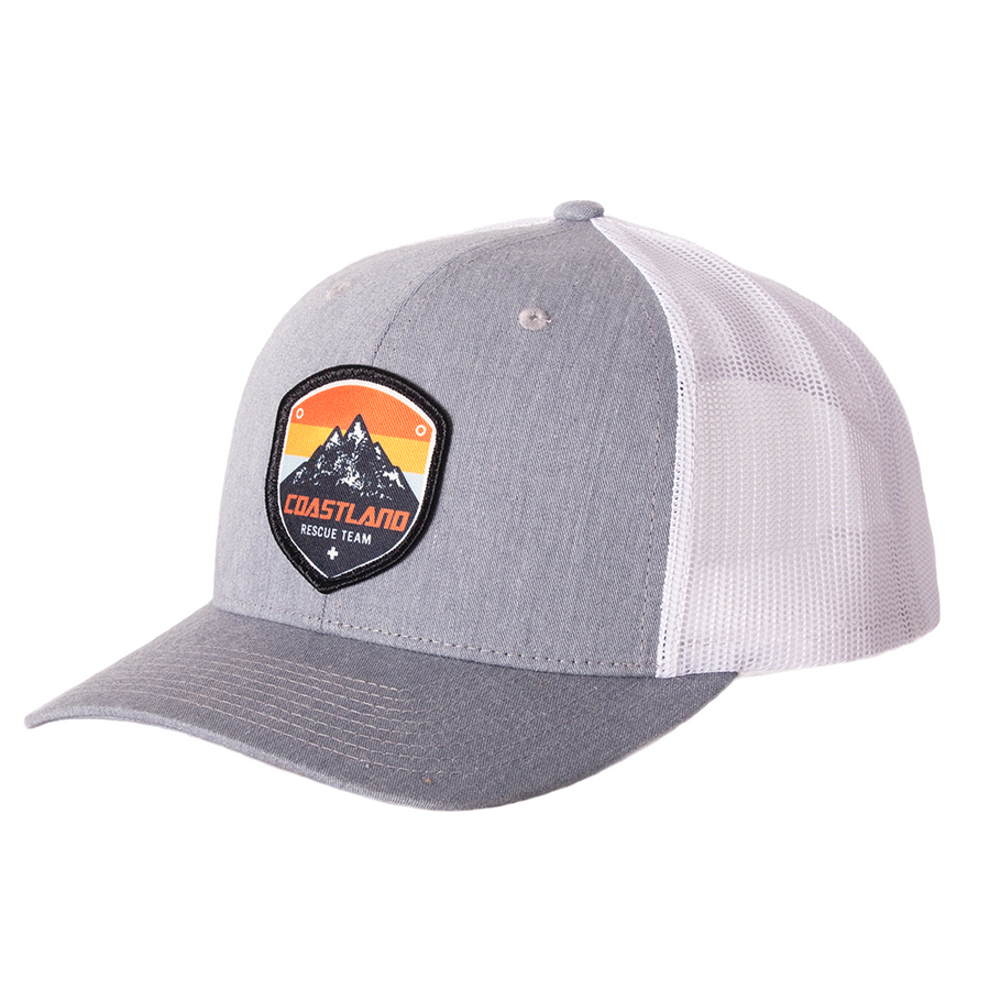 Heather Grey and White Rescue Patch Snapback