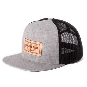 Gray Black Leather Snapback