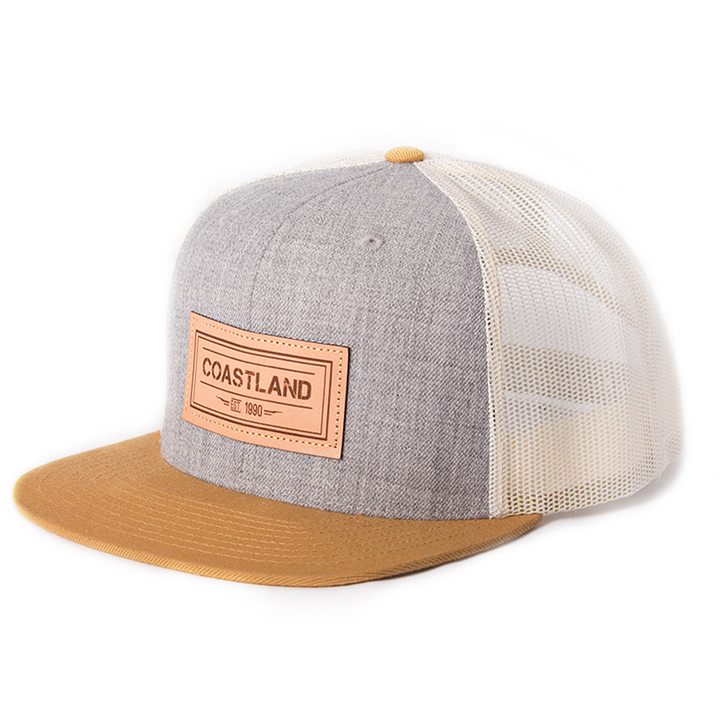 Gray Leather Snapback