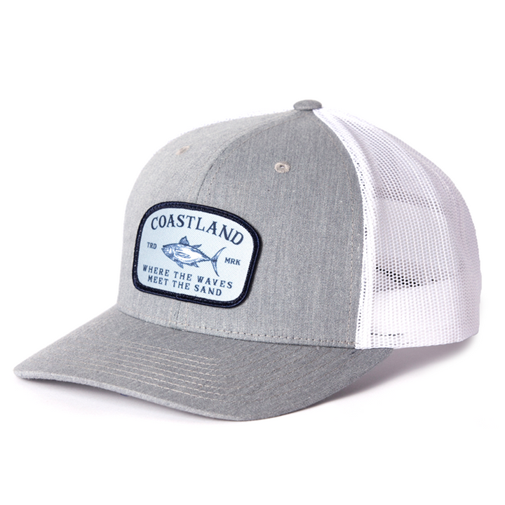 Gray White Fish Snapback