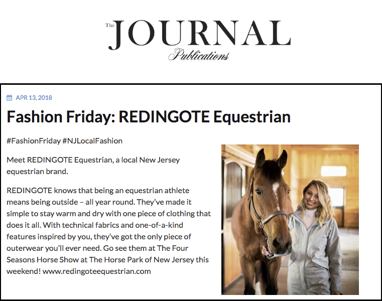 Redingote Equestrian Media Press - The Journal NJ, April 2018