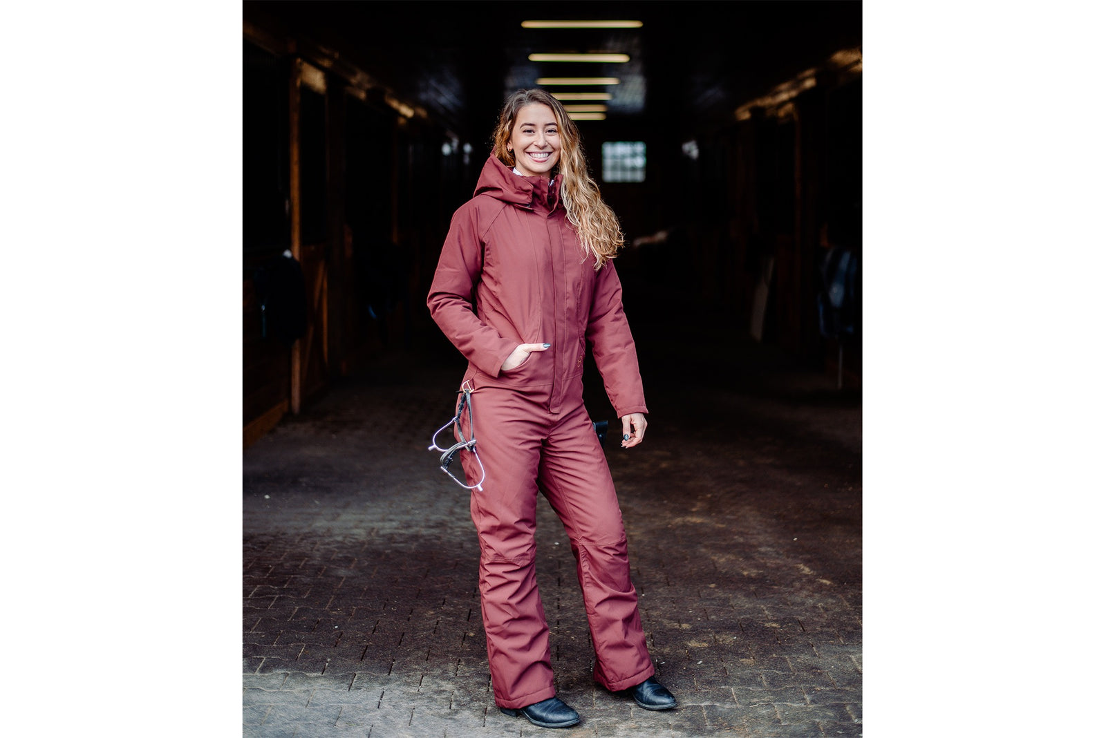 Hooded Winter Insulated Jumpsuit - Rum Raisin