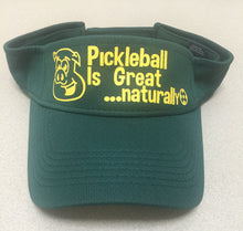 "Forest Green Visor with ""Pickleball is Great...naturally"" in yellow"
