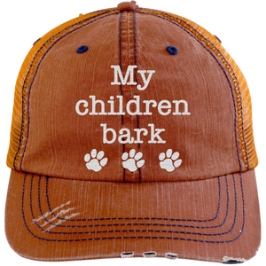 MY CHILDREN BARK HAT DISTRESSED TRUCKER CAP