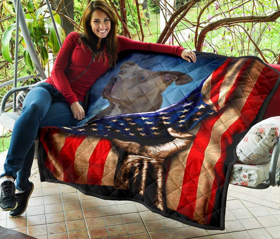 Pitbull USA Flag Quilt