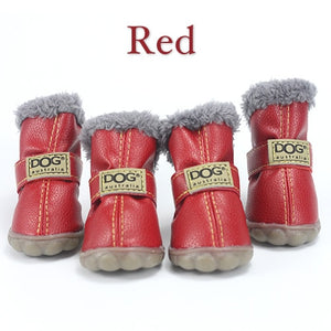 Pet Dog Shoes Winter Super Warm 4pcs/set Dog's Boots Cotton Anti Slip XS 2XL Shoes for Small Pet Product  Waterproof