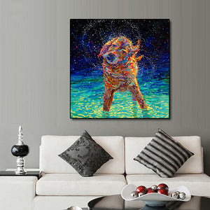 PAINTING HOME DECOR ON CANVAS A COLORFUL DOG (NO FRAME)