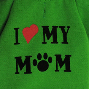 I LOVE MY  MOM SMALL DOGS SPORT HOODIE