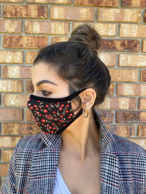 Red floral face mask washable reusable double layer mask comfortable made in USA
